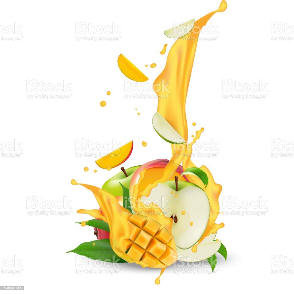 Saft Milch Joghurt Apfel Und Mango Würfel Plantschen Saftiger Apfel ...
