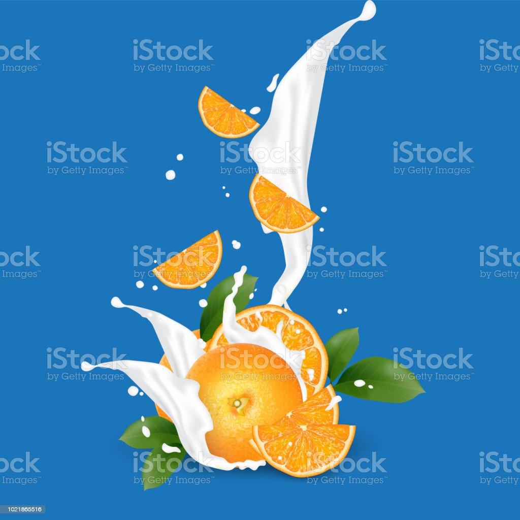 Juice milk yogurt orange slices splashing. Orange leaf. Juicy orange...