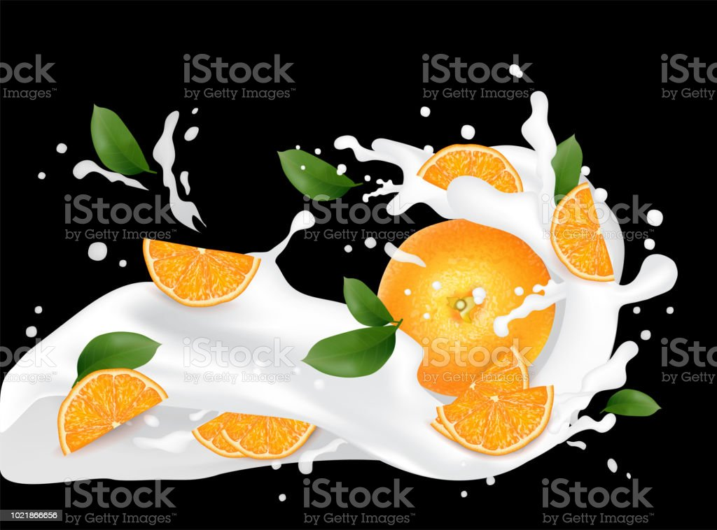 Juice milk yogurt orange slices splashing. Orange leaf. Juicy orange...