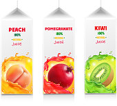 Juice package set. Carton juice box. Peach, Pomegranate kiwi.