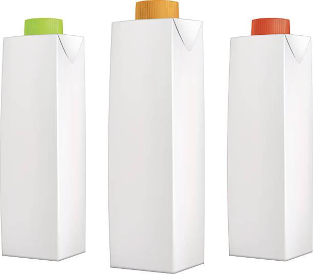 illustrazioni stock, clip art, cartoni animati e icone di tendenza di succo pack con i coperchi di colore - fruit juice bottle isolated