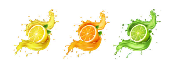 stockillustraties, clipart, cartoons en iconen met juice splash citroen, sinaasappel, limoen set. citrus splashig fresh collectie realistische vector - sapjes