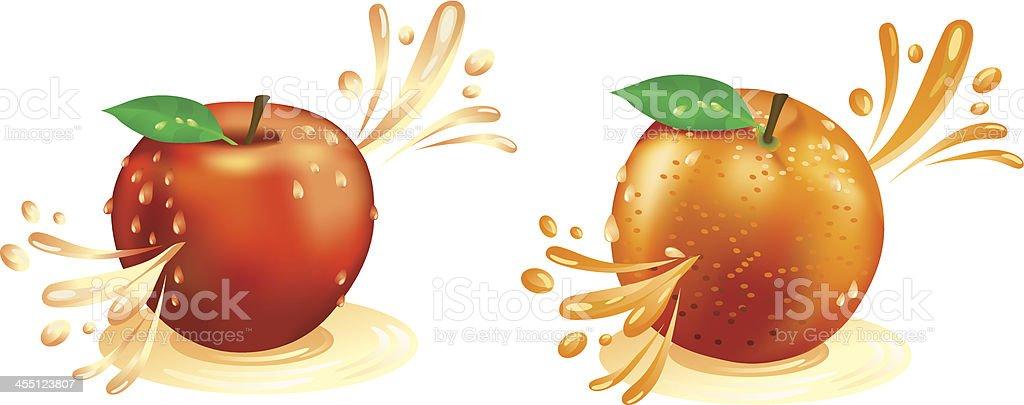 Saft Heraussprühen von Obst – Vektorgrafik