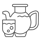 Juice thin line icon. Glass of juice vector illustration isolated on white. Juice jug outline style design, designed for web and app. Eps 10