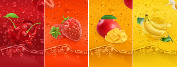 Juicy and fresh fruit. Cherry, strawberry, mango, banana. Dew drops and splash. 3d vector realistic set. High quality 50mb eps Juicy and fresh fruit. Cherry, strawberry, mango, banana. Dew drops and splash. 3d vector realistic set. High quality 50mb eps cherry stock illustrations