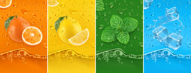 illustrazioni stock, clip art, cartoni animati e icone di tendenza di juicy and fresh fruit. orange, lemon, mint, ice water. dew drops and splash. 3d vector realistic set. high quality 50mb eps - healthy green juice
