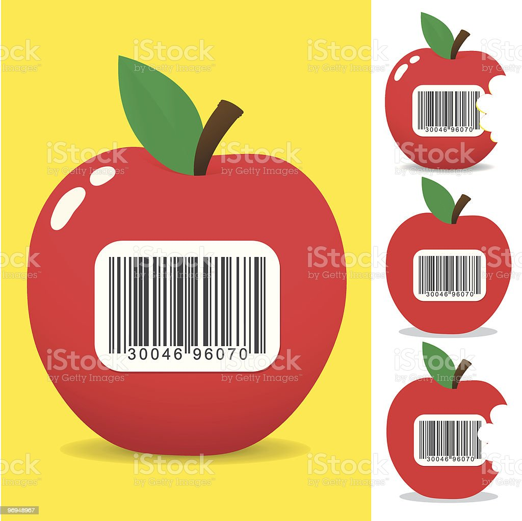 Juicy apple with bar code label royalty-free juicy apple with bar code label stock vector art & more images of apple - fruit