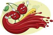 Cartoon cherries surfing on the fresh juice wave crest