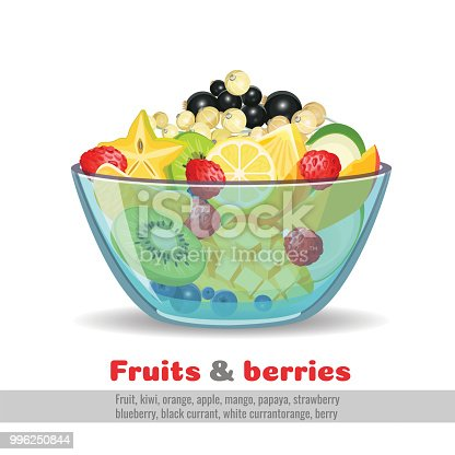 Juicy fruit and berries glass bowl on white. Kiwi and orange, apple and mango, papaya and strawberry, blueberry and blackcurrant, white currant orange vector