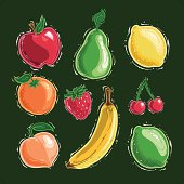 9 very deliciously stylized fruits. AI,EPS & JPG (6000 x 6000px @ 300 dpi) included in package.