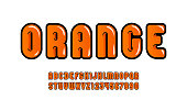 Juicy glossy font, orange liquid alphabet in the cartoon style, bright rounded letters from A to Z and numbers from 0 to 9 for you designs: logo, t shirt, card, poster, vector illustration 10EPS