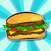 Juicy hamburger illustration