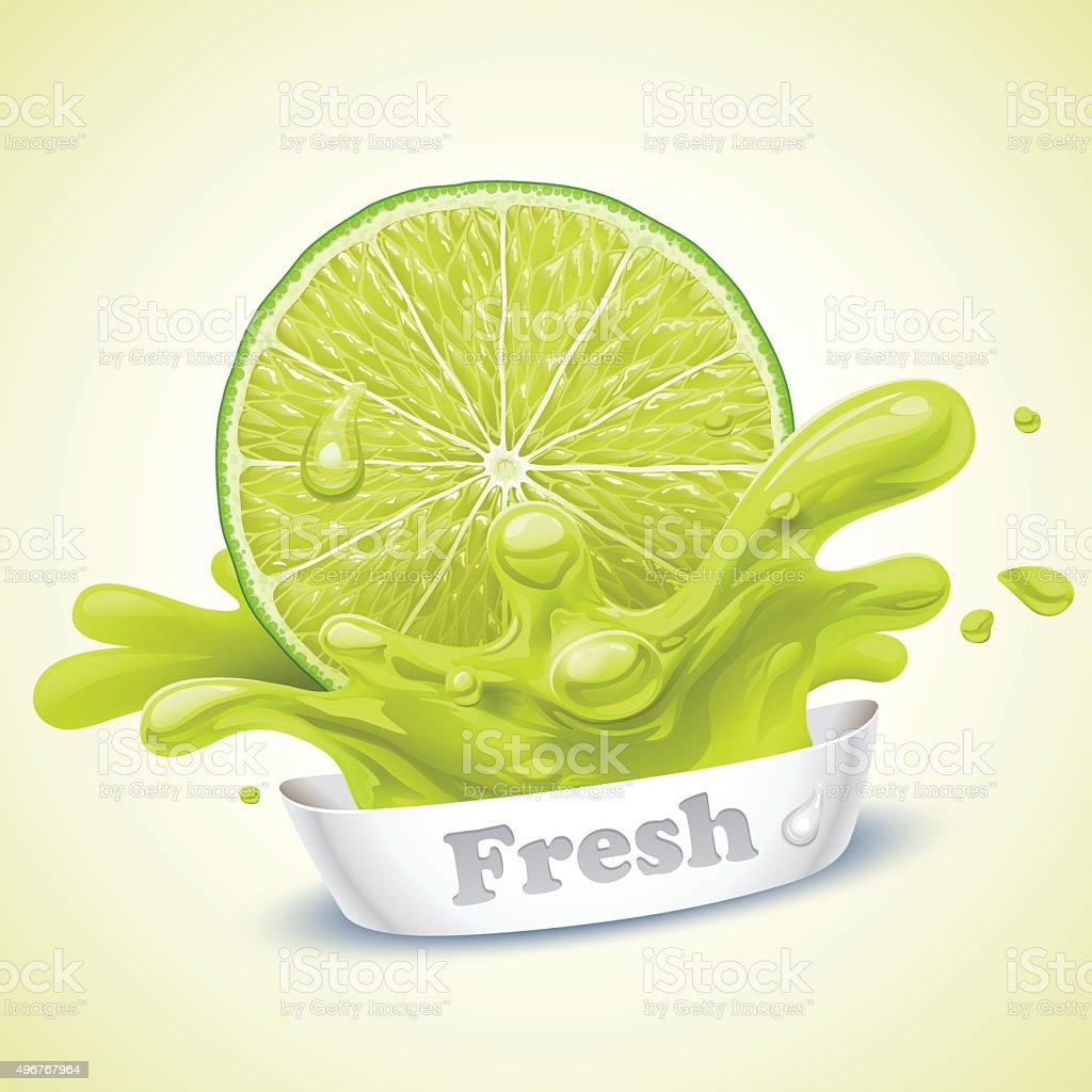 Juicy lime vector art illustration