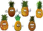 Juicy pineapple fruits cartoon characters