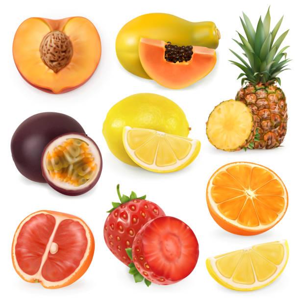 illustrations, cliparts, dessins animés et icônes de juicy fruit mûr doux. réalisme 3d, vector icon set - fruit de la passion
