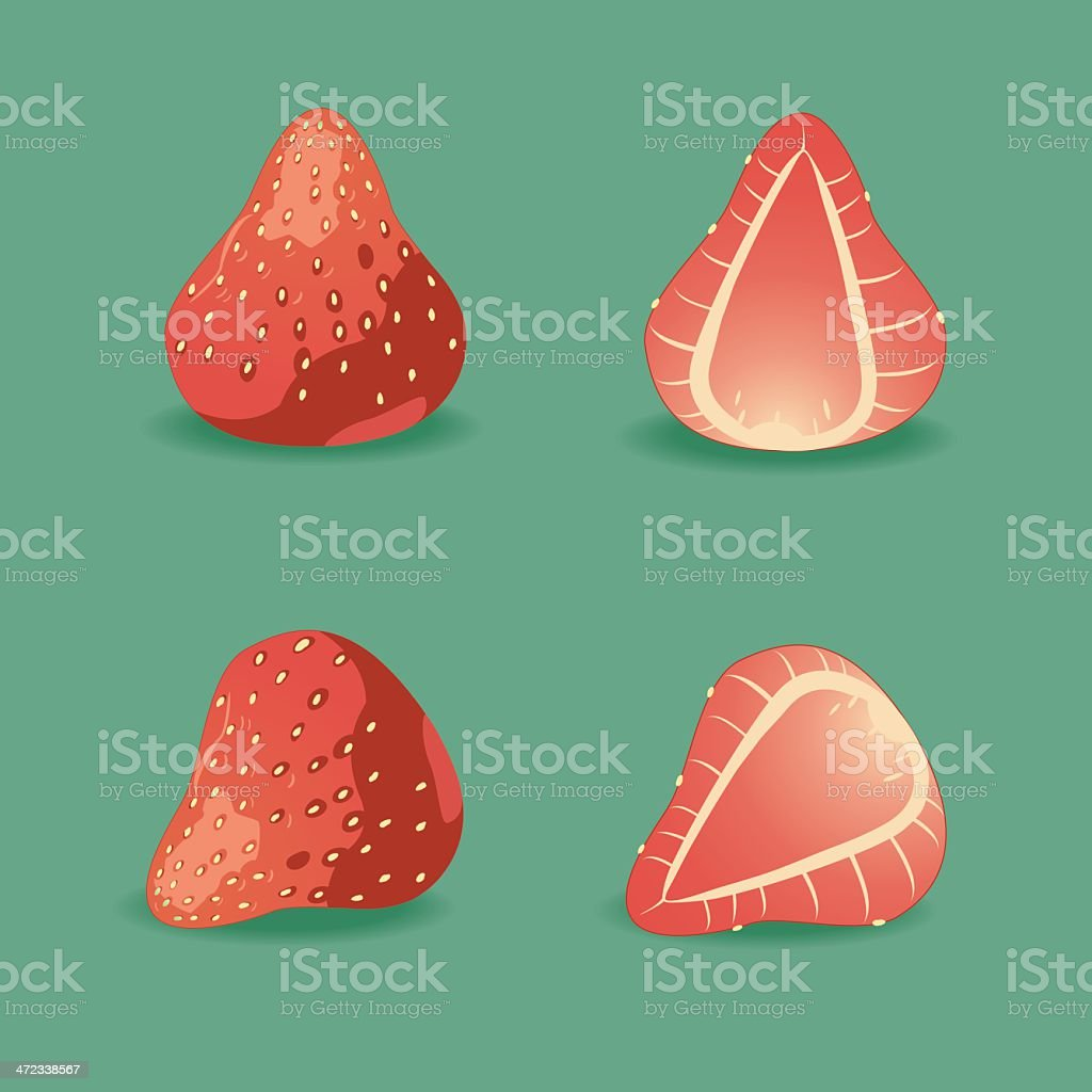 Juicy strawberry on green. royalty-free stock vector art