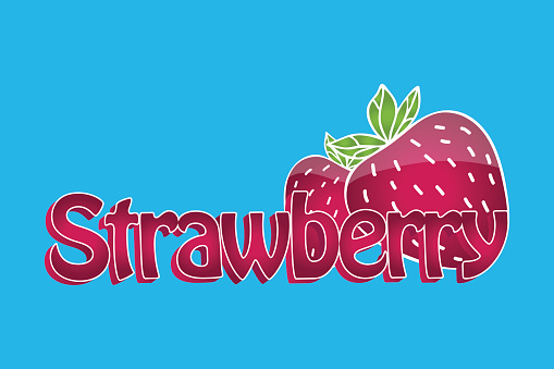 Juicy strawberry symbol. Text and illustration with 3d effect.