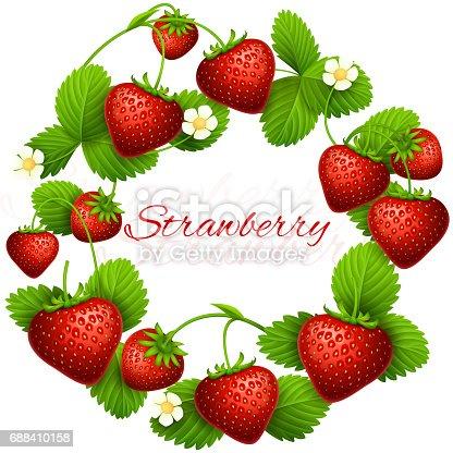 Juicy Strawberry Vector Frame Wreath Health Dessert Eating ...