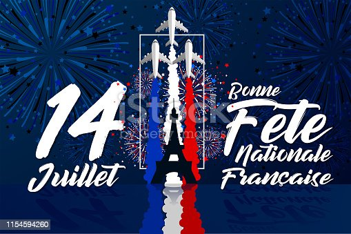 istock '14 Juillet - Le jour de la bastille' is the words for celebrate French Bastille Day in 14th July 1154594260