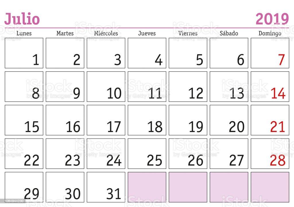 Calendario 2019 Julio Chile.Ilustracion De Calendario De Pared De 2019 De Julio Espanol