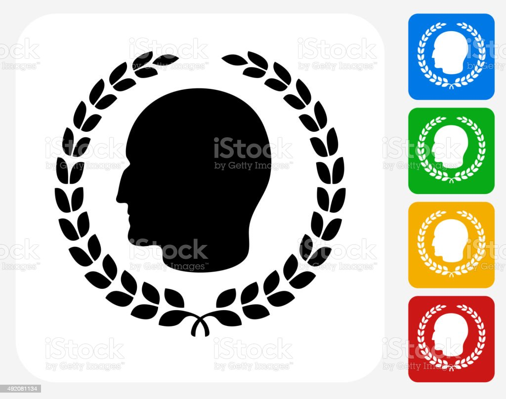 Julius Caesar Profile And Laurel Wreath Icon Flat Graphic Design