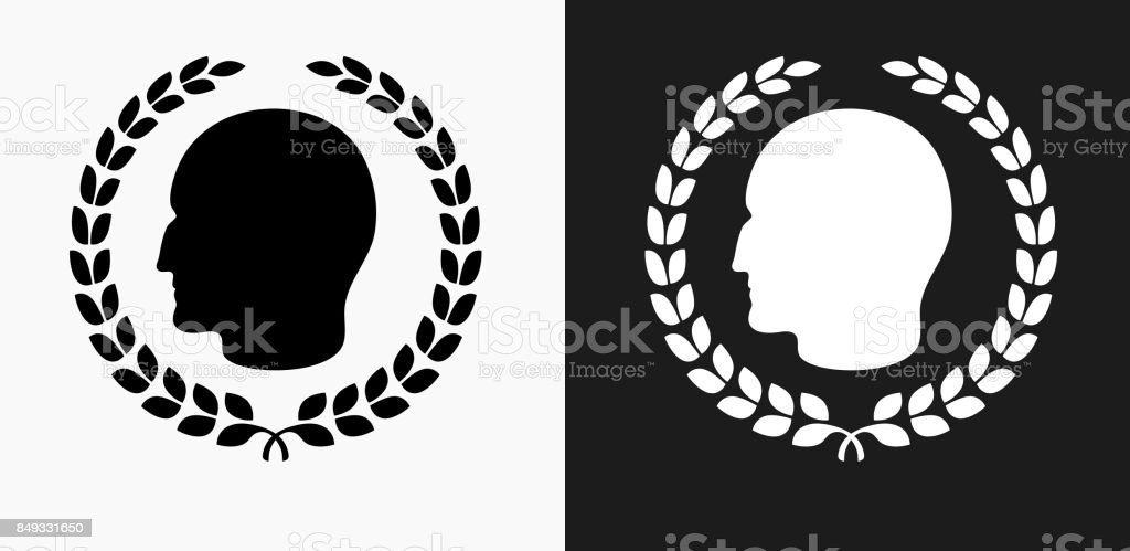Julius Caesar Profile And Laurel Wreath Icon On Black And White