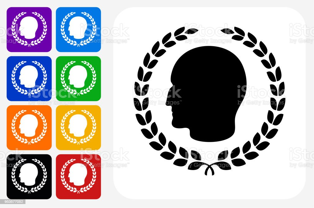 Julius Caesar Profile And Laurel Wreath Icon Square Button Set Stock