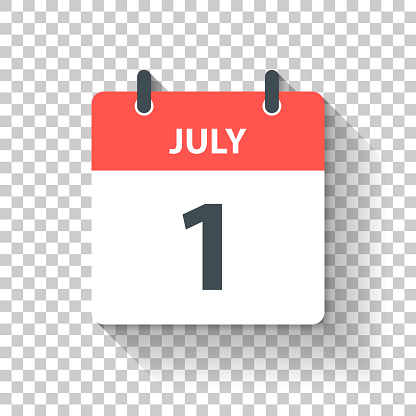 July 1 - Daily Calendar Icon in flat design style