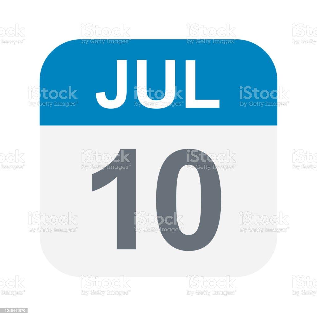 Calendario Julio 1976.Ilustracion De 10 De Julio Icono De Calendario Y Mas