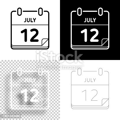 istock July 12. Icon for design. Blank, white and black backgrounds - Line icon 1301433460