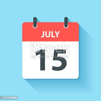 istock July 15 - Daily Calendar Icon in flat design style 1212425696