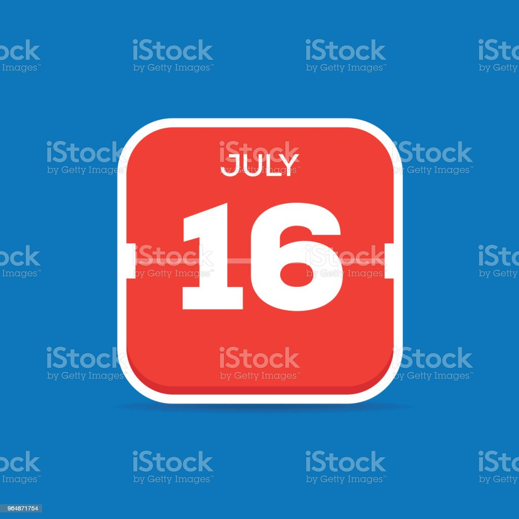 July 16 Calendar Flat Icon royalty-free july 16 calendar flat icon stock vector art & more images of art