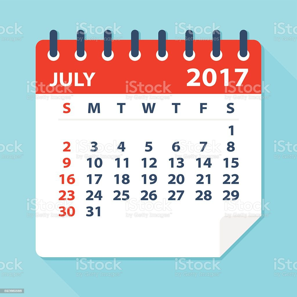 July 2017 Calendar Illustration Stock Illustration
