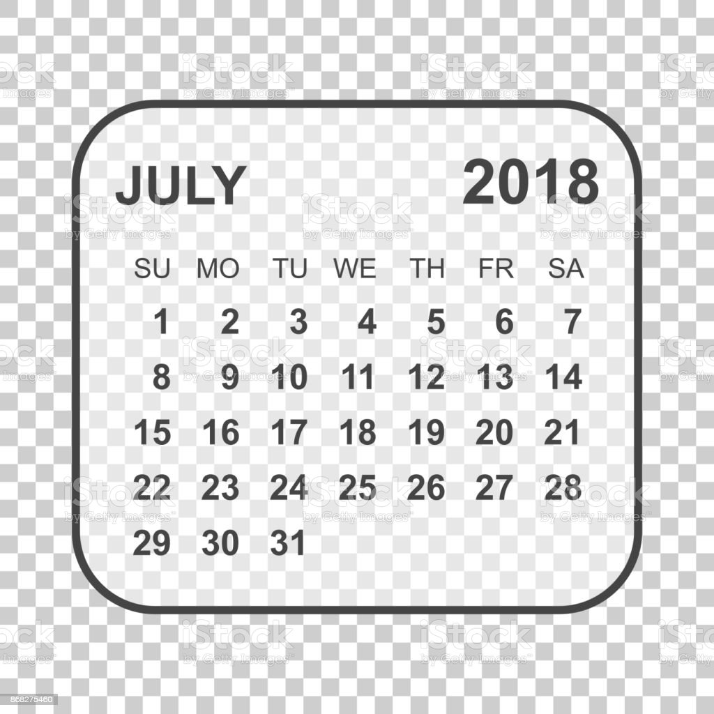 July 2018 Calendar Calendar Planner Design Template Week Starts On
