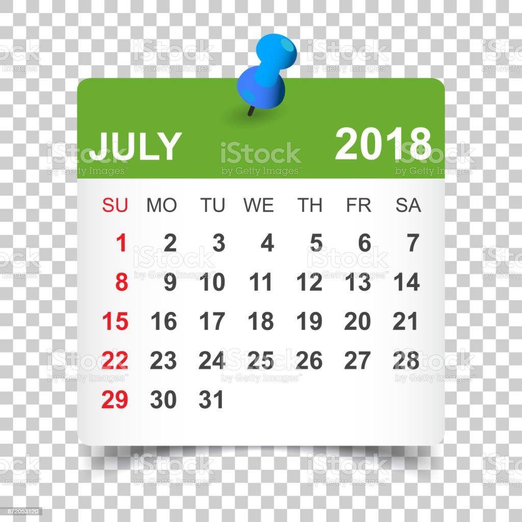 July 2018 Calendar Calendar Sticker Design Template Week Starts On