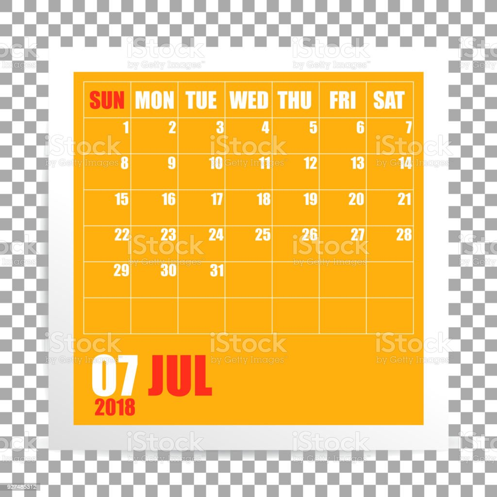 july 2018 calendar photo frame on transparent background royalty free july 2018 calendar photo frame