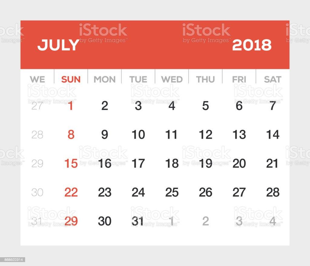 Kalender Juli 2018 Stock Vektor Art und mehr Bilder von 2018 ...