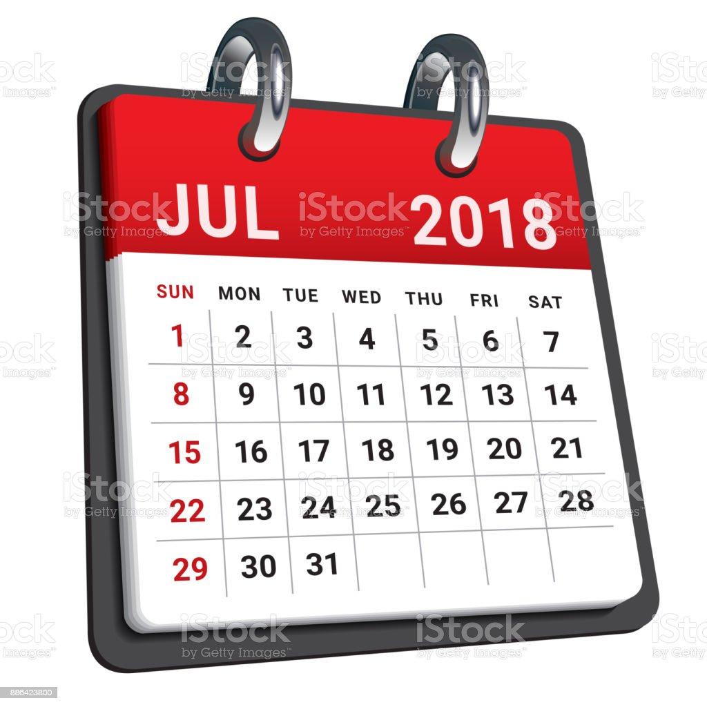 Illustration Calendrier.July 2018 Calendar Vector Illustration Stock Illustration Download Image Now