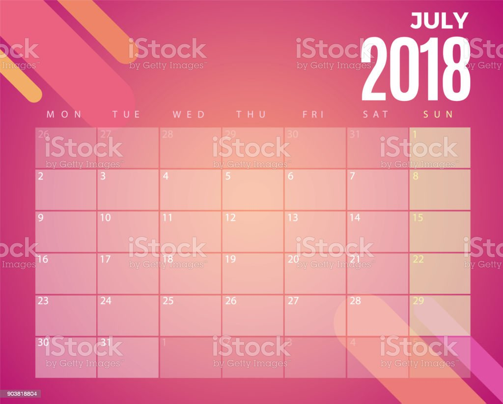 july 2018 calendar vector template royalty free july 2018 calendar vector template stock vector