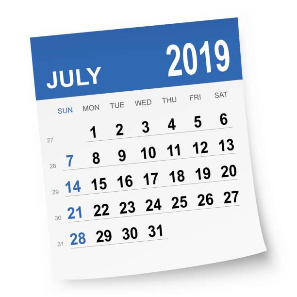july 2019 calendar - calendar stock illustrations, clip art, cartoons, & icons
