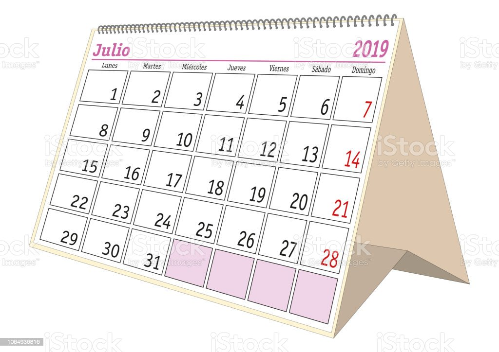 Calendario Julio 2019 Vector.July 2019 Desk Calendar In Spanish Julio 2019 Stock