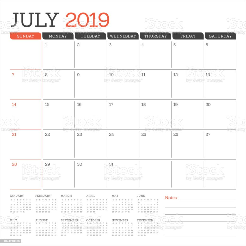 July 2019 Desk Calendar Vector Illustration Stock Illustration Download Image Now Istock
