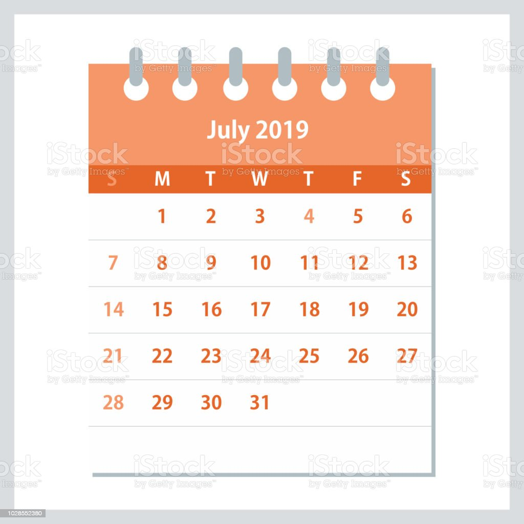calendar month of july 2019