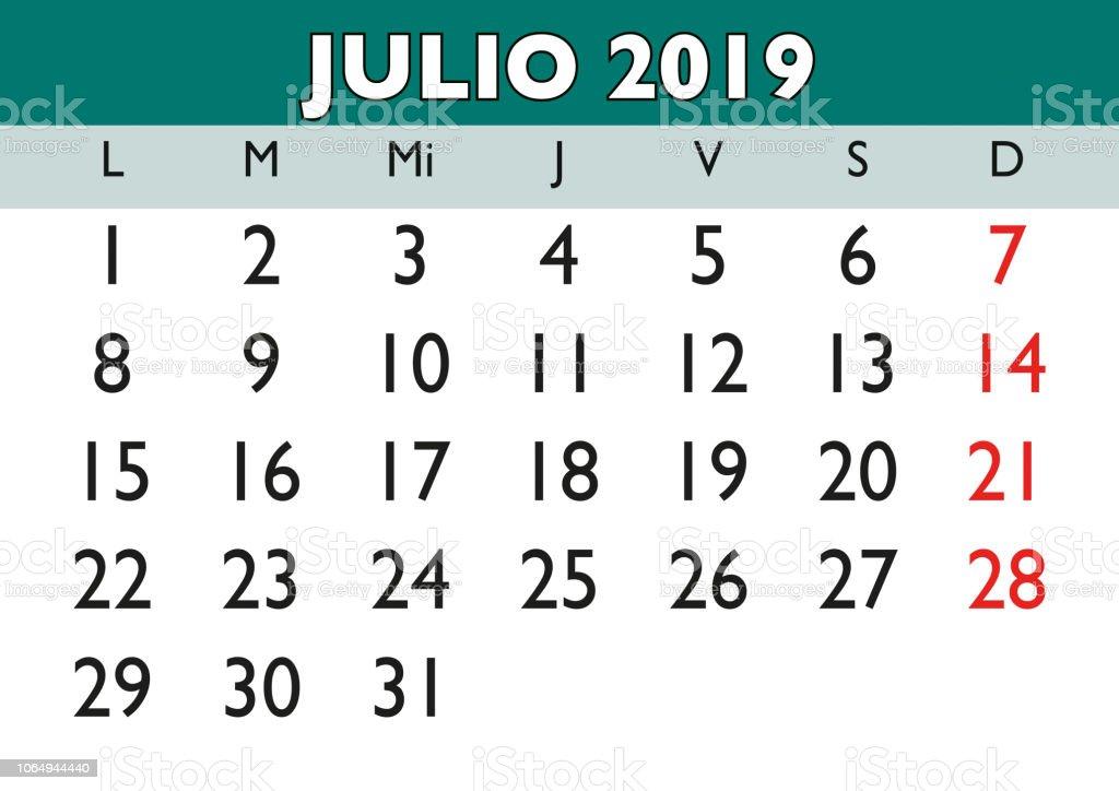 Calendario Santoral 2019.Ilustracion De Julio 2019 Pared Calendario Espanol Y Mas Vectores