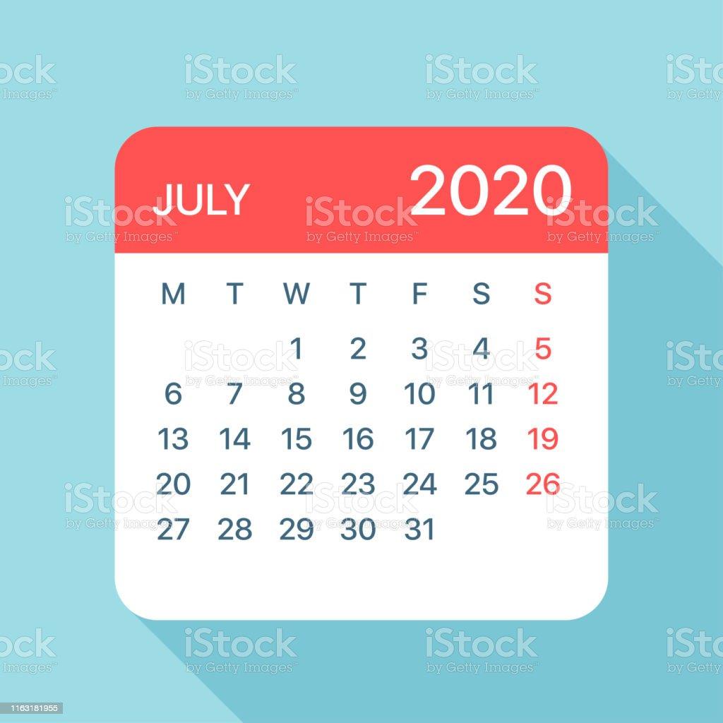 Calendrier Juillet2020.Juillet 2020 Feuille De Calendrier Illustration Vector