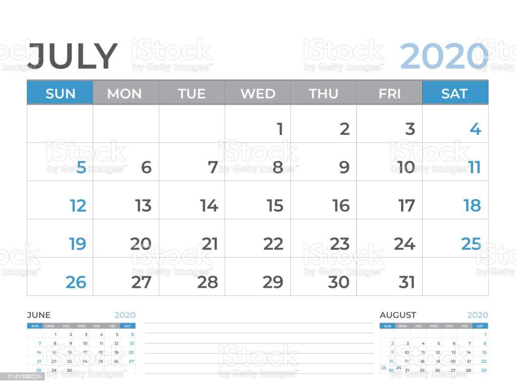 July Calendar For 2020.July 2020 Calendar Template Desk Calendar Layout Size 8 X 6 Inch