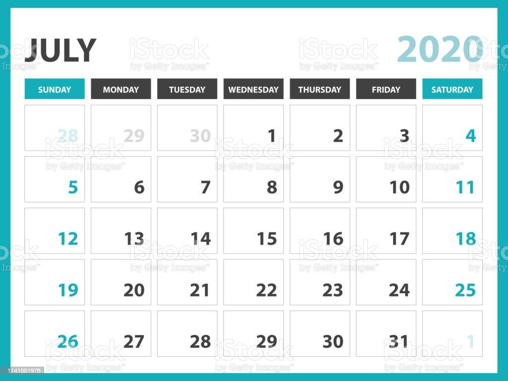Calendario Julio 1976.Ilustracion De Julio 2020 Plantilla De Calendario Diseno Del