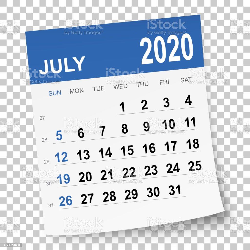 Calendrier Juillet2020.Calendrier De Juillet 2020 Vecteurs Libres De Droits Et Plus