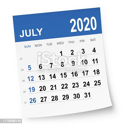 July 2020 calendar isolated on a white background. Need another version, another month, another year... Check my portfolio. Vector Illustration (EPS10, well layered and grouped). Easy to edit, manipulate, resize or colorize.