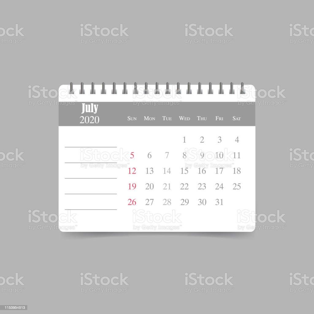 July 2020 Calendar Week Starts Sunday Stock Illustration